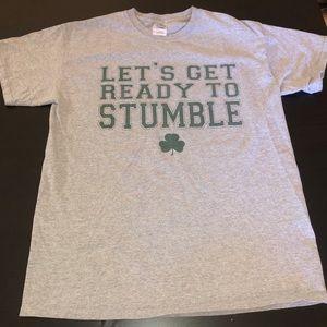 Gray 'Let's Get Ready To Stumble' St. Patricks Tee